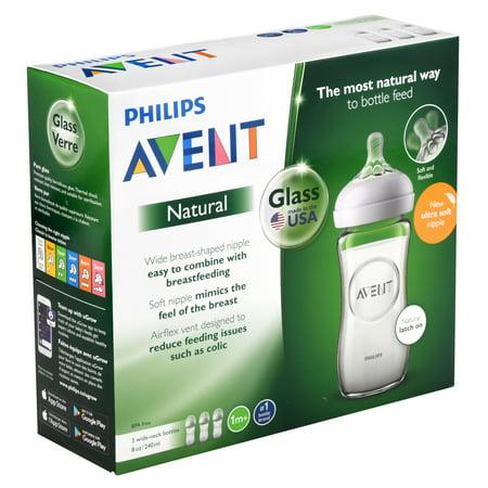 Philips Avent Natural Glass Baby Bottle, 8oz, 3pk, SCF703/37