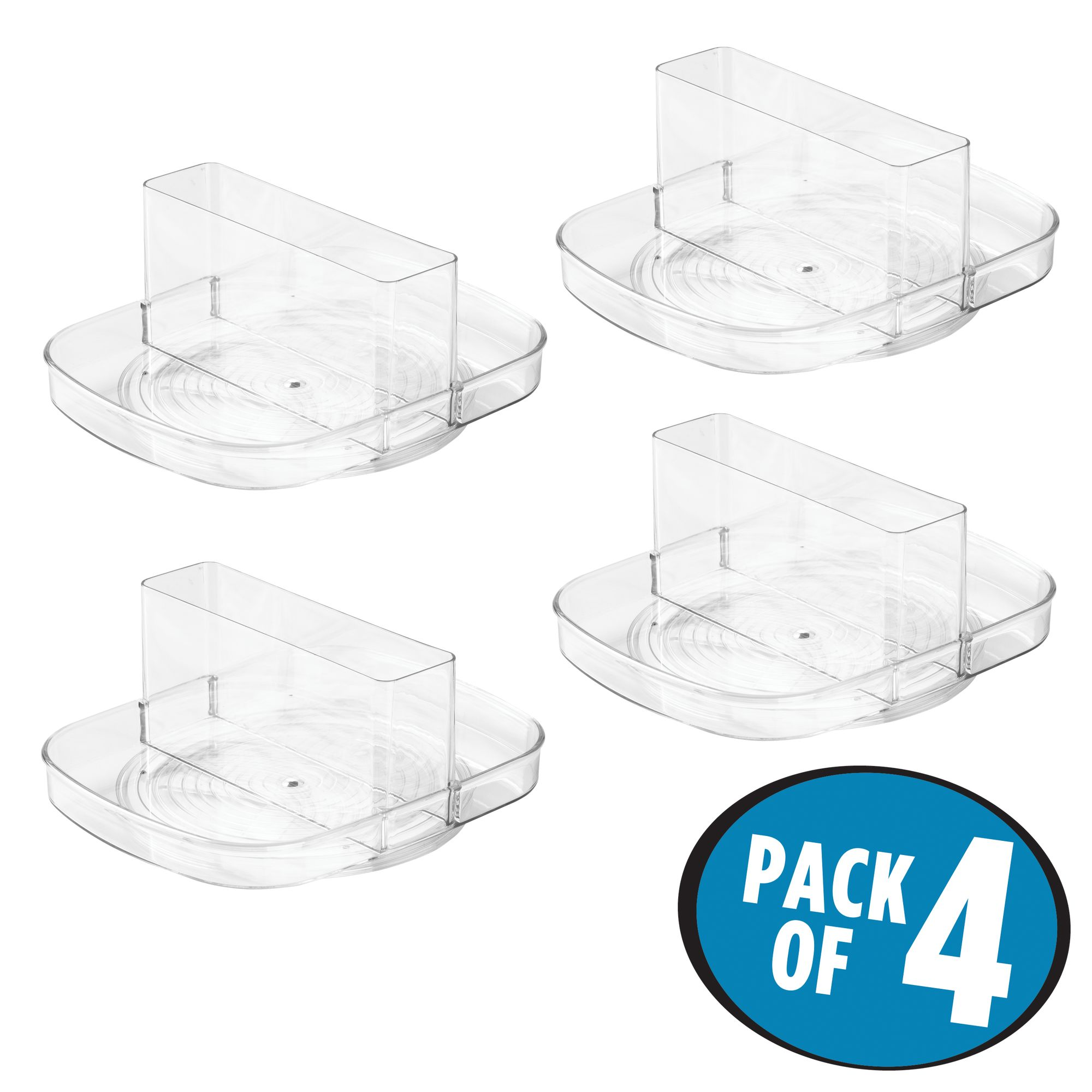 InterDesign Linus Lazy Susan Turntable Napkin and Condiments Holder, Pack of 4