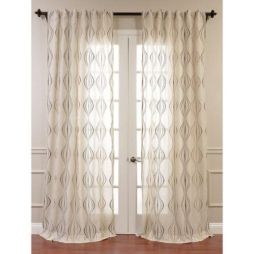Half Price Drapes Suez Embroidered Sheer Single Curtain Panel