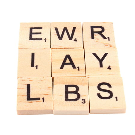 Dilwe 100Pcs Scrabble Tiles Letters Alphabet Wooden Pieces Numbers Pendants - Scrabble Tiles Bulk