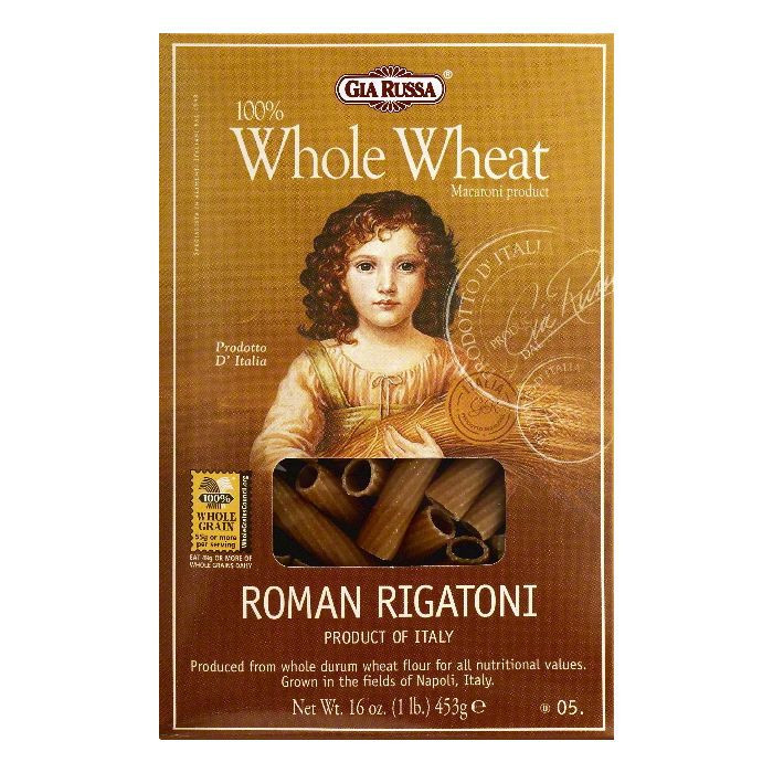 Gia Russa 100% Whole Wheat Roman Rigatoni, 16.0 OZ