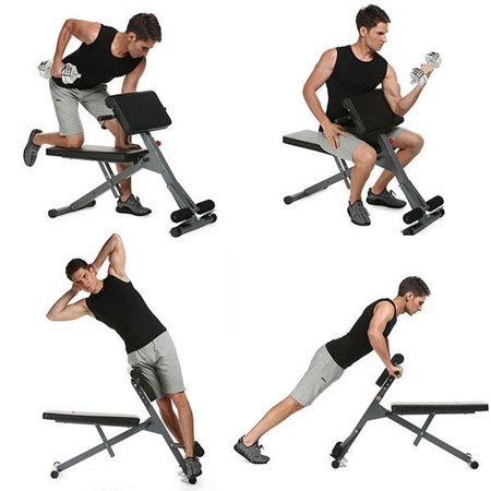 Durable Adjustable Sit Up Bench Slant Board Ab Trainer Exercise Workout Weight Bench Roman Chair for Home Gym Multi-function Core Strength Hyper Bench - Trainer Discount Home Gyms Exercise