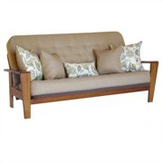 Big Tree Furniture Asana Futon Frame and Mattress with 5 Pillows in Tuscany
