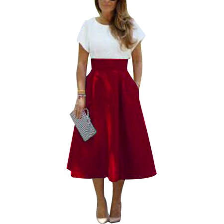 Ladies  Casual Vintage Style High Waist  Pin Up Long Midi A-Line Swing Skirt Party Enveing Pocket Skirts