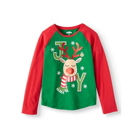 Christmas Long Sleeve Graphic Raglan Tee (Little Girls & Big - Sonic Is A Girl