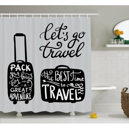 Adventure Shower Curtain Packing The Bags And Traveling World Journey Fun Themed Work Of Art