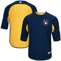 Milwaukee Brewers Majestic Authentic Collection On-Field 3/4-Sleeve Batting Practice Jersey - Navy/Yellow