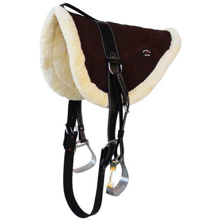 Horse SADDLE Bareback PAD BROWN Suede Leather FUR Treeless Tack 39141BR