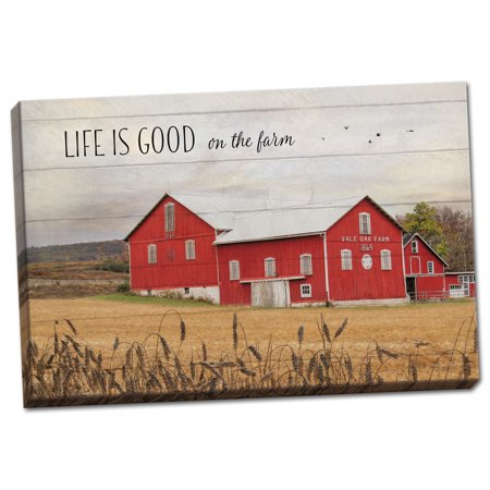 Gango Home Decor Country-Rustic Life is Good on the Farm by Lori Deiter (Ready to Hang); One 18x12in Hand-Stretched Canvas