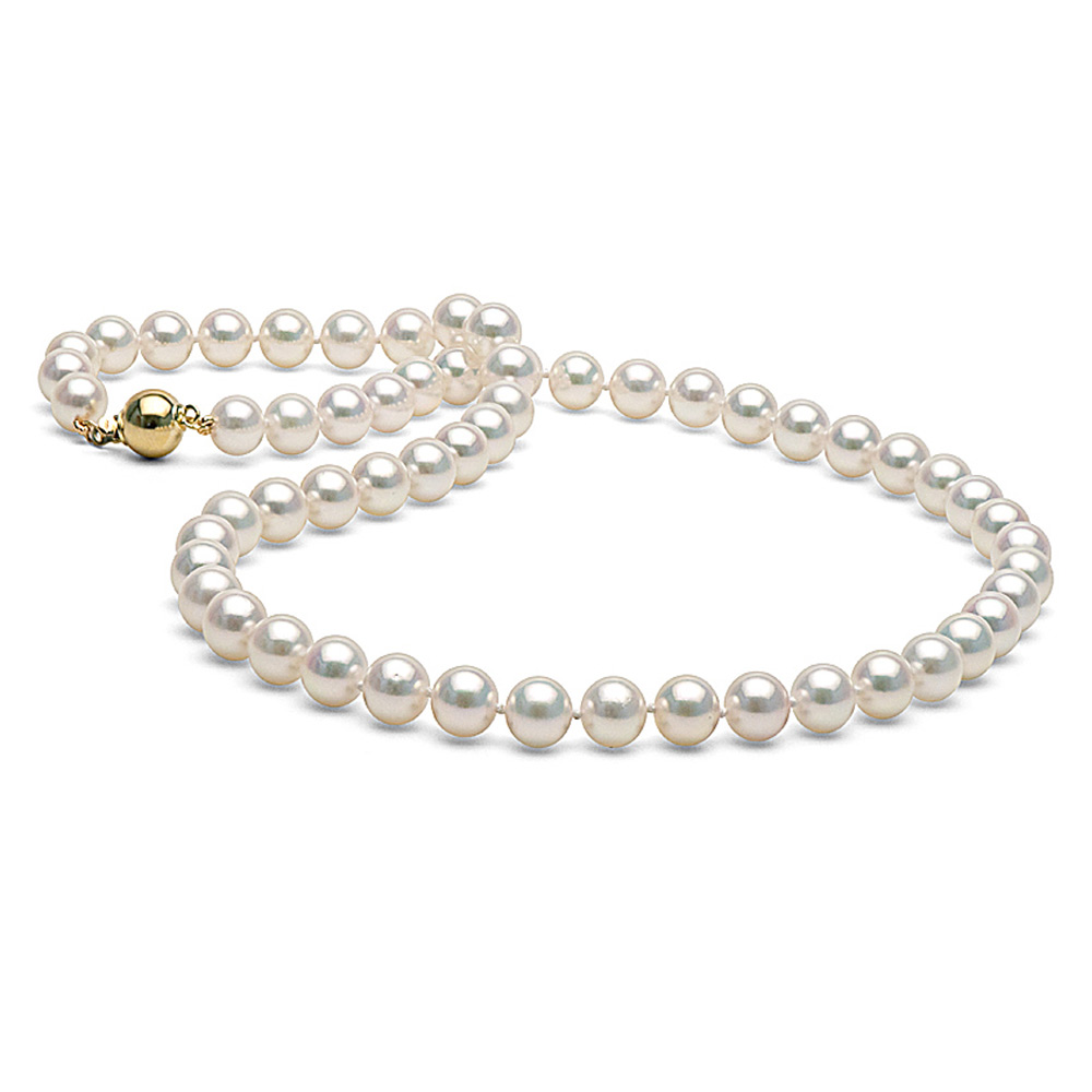 PurePearls White Cultured Akoya Pearl Necklace, AA+ Quality, 18-Inch Princess Length, 14K Gold Clasp Choose Your Pearl... by Pure Pearls