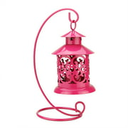 "8.75"" Shiny Pink Votive or Tealight Candle Holder Mini Lantern with Hanger"