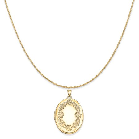 (14k Yellow Gold Floral Locket Pendant on a 14K Yellow Gold Rope Chain Necklace, 18