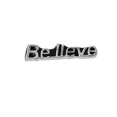 Floating Charms for Glass Living Memory Locket Pendant and Stainless Steel Back Plate (Believe Floating Charm) - Floating Lockets And Charms