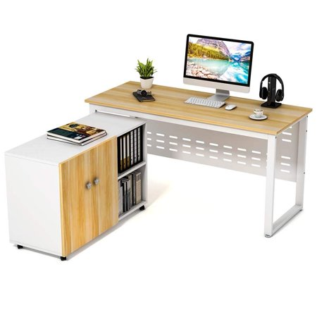 Computer Desk With File Storage Cabinet Tribesigns 55 Large Modern Office Study Writing Table Workstation 2 Piece Suite Walnut White
