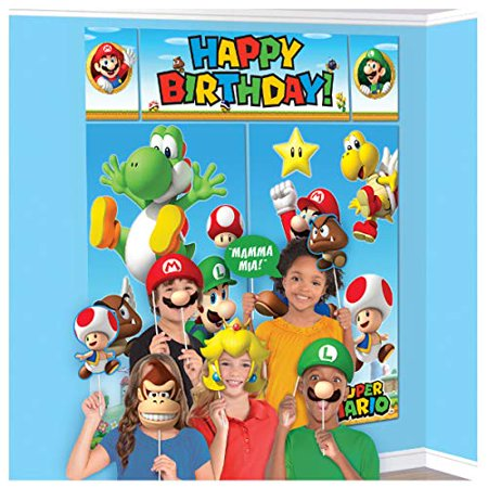 """Super Mario Happy Birthday Giant Scene Setters Wall Decorating Kit Party Backdrop, 5 Pieces, Made from Vinyl, Multicolor, 59"""" x 65"""" by Amscan"""