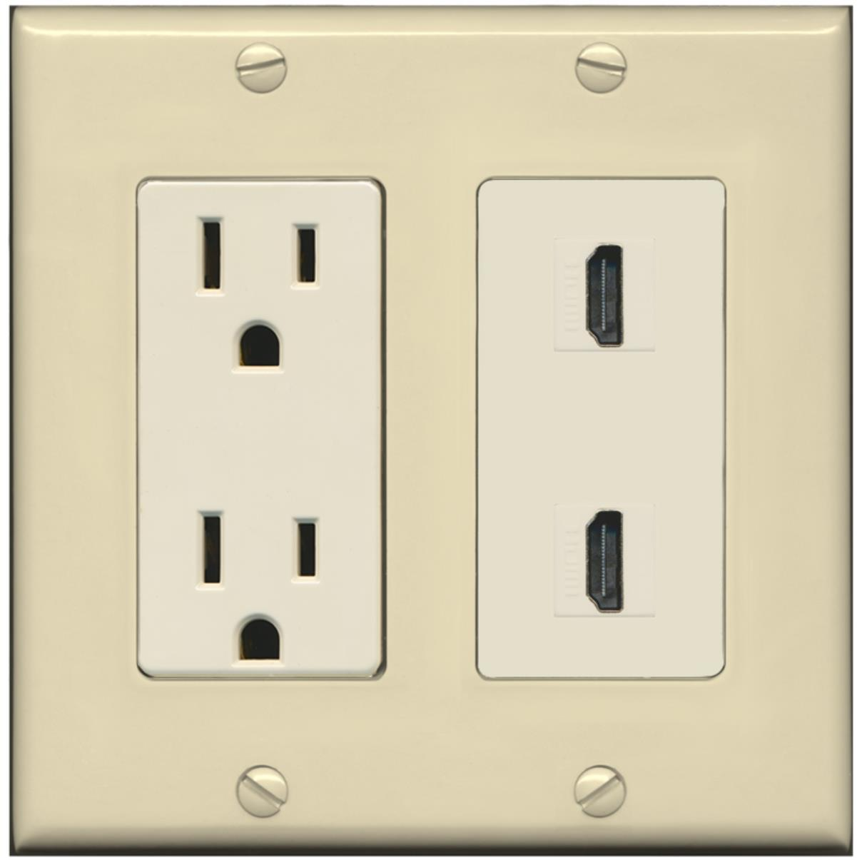 RiteAV - 15 Amp Power Outlet 2 Port HDMI Decora Wall Plate - Ivory/Light Almond