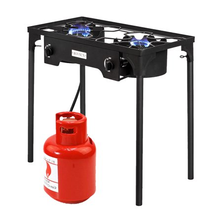 ZOKOP Portable Propane 15,0000-BTU Double Burner Outdoor Camp Stove w/Adjustable (Cast Iron Pot Belly Stoves For Sale)