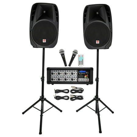 Nady Pa System - Rockville RPG2X15 Package PA System Mixer/Amp+15