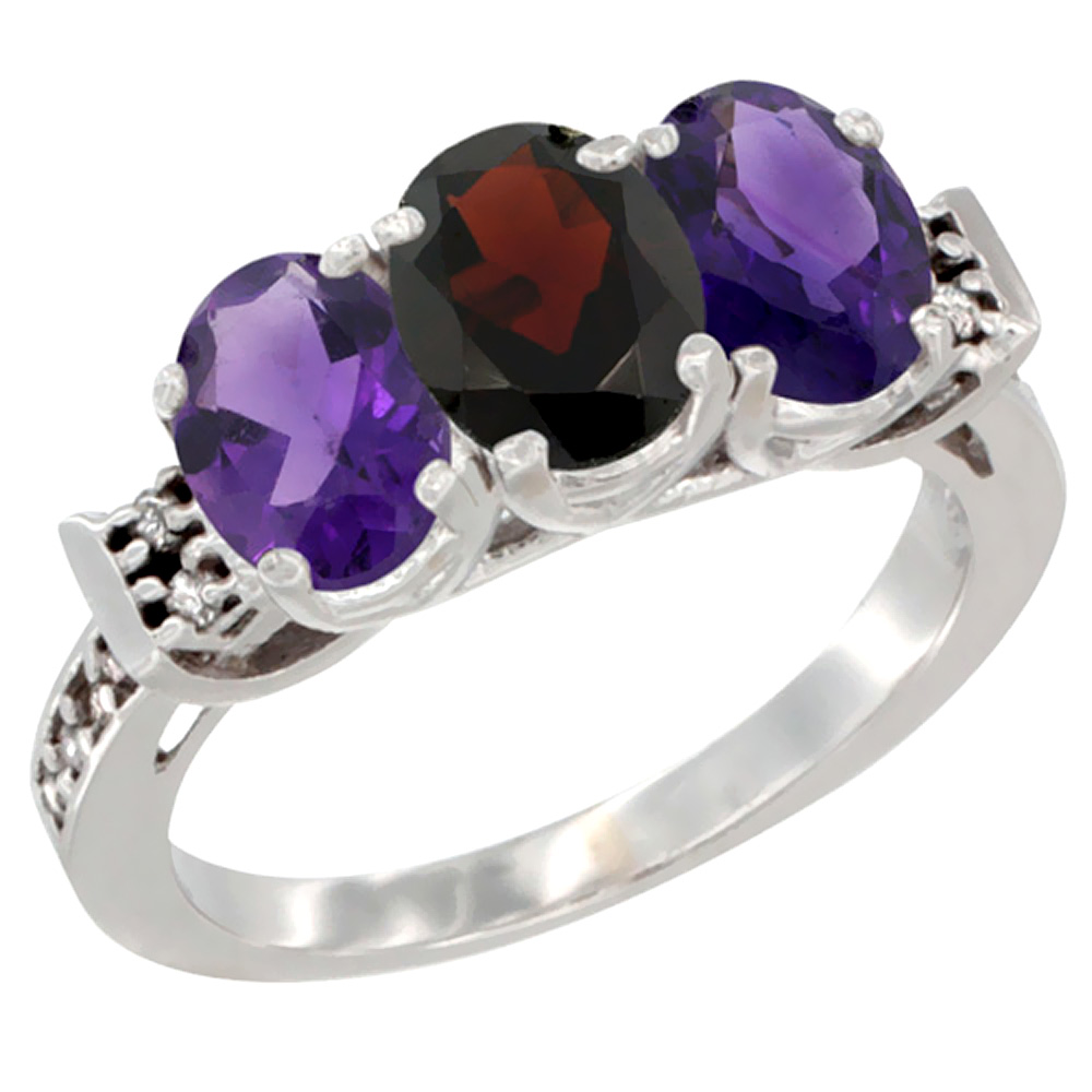 10K White Gold Natural Garnet & Amethyst Sides Ring 3-Stone Oval 7x5 mm Diamond Accent, sizes 5 10 by WorldJewels