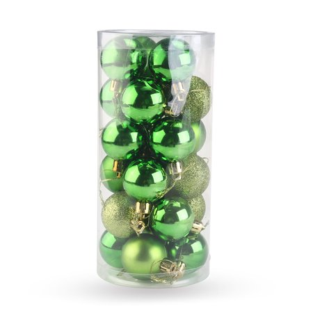 24pcs Christmas Tree Decor Ball Bauble Hanging Xmas Party Ornament Decorations for Home (Green)