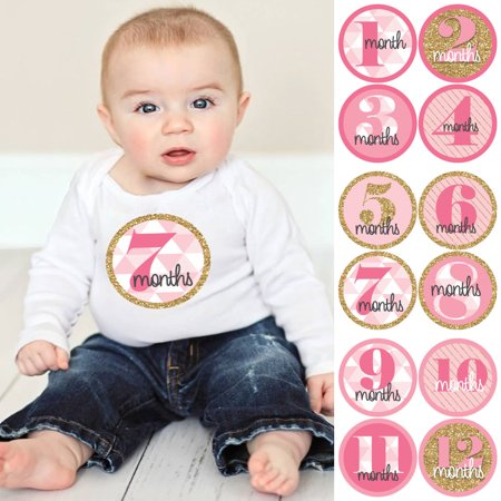 Baby Girl Baby Shower Ideas (Geometric Pink & Gold - Baby Girl Monthly Sticker Set - Baby Shower Gift Ideas - 12)