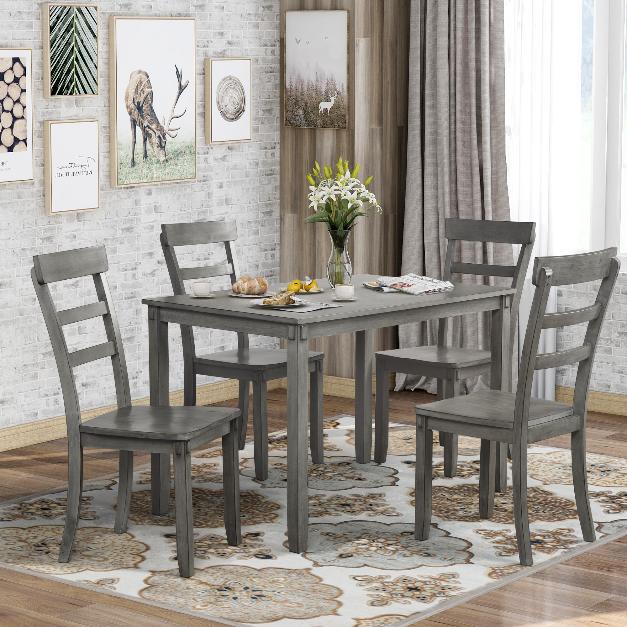 Enyopro 5 Piece Dining Table Set Square Kitchen Table With 4 Chairs Compact Dining Room Set Wood Home Kitchen Table And Chairs For 4 Person Ideal For Dining Room Apartment Small Space