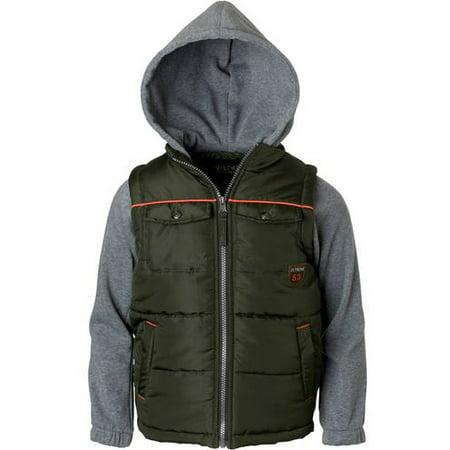 Boys' Patch Pocket Vest With Fleece Hood And (Hooded Fleece Vest)