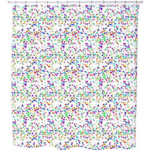 Miscellaneous Colored Confetti Shower Curtain Extra Long (70 inches X 90 inches)