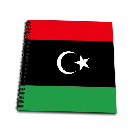 3dRose Flag of Libya - Libyan African country - Africa - red black green with white crescent moon and star - Drawing Book, 8 by 8-inch
