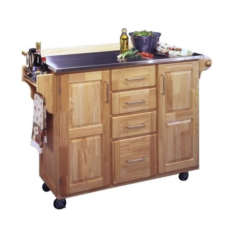 Bowery Hill Stainless Steel Kitchen Cart with Breakfast B...