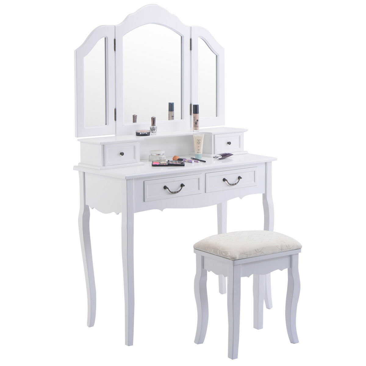 Merveilleux Tri Folding Mirror White Wood Vanity Set Makeup Bathroom Table Dresser 4  Drawers + Stool