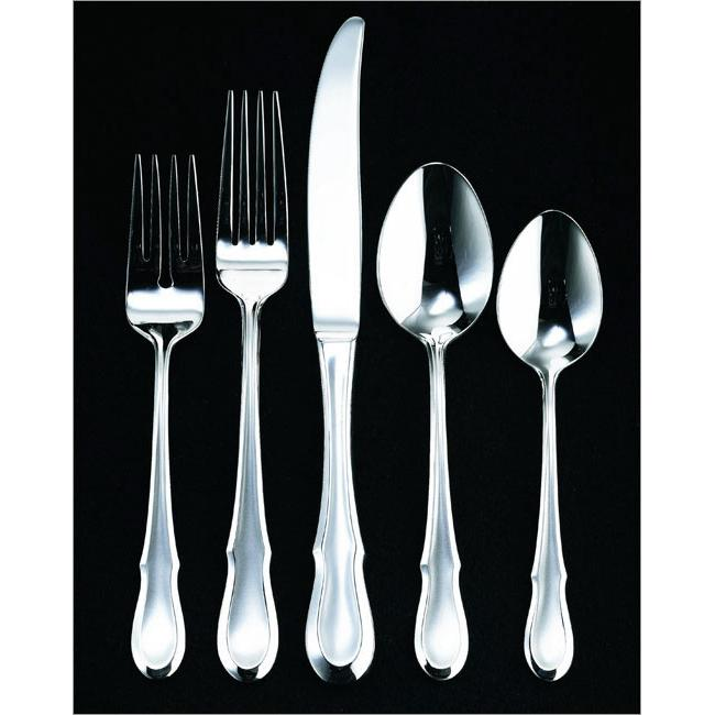 Ginkgo 079914-26105-0 Celine Platinum 5 Piece Place Setting - 18-10 Stainless Steel - Platinum Accent