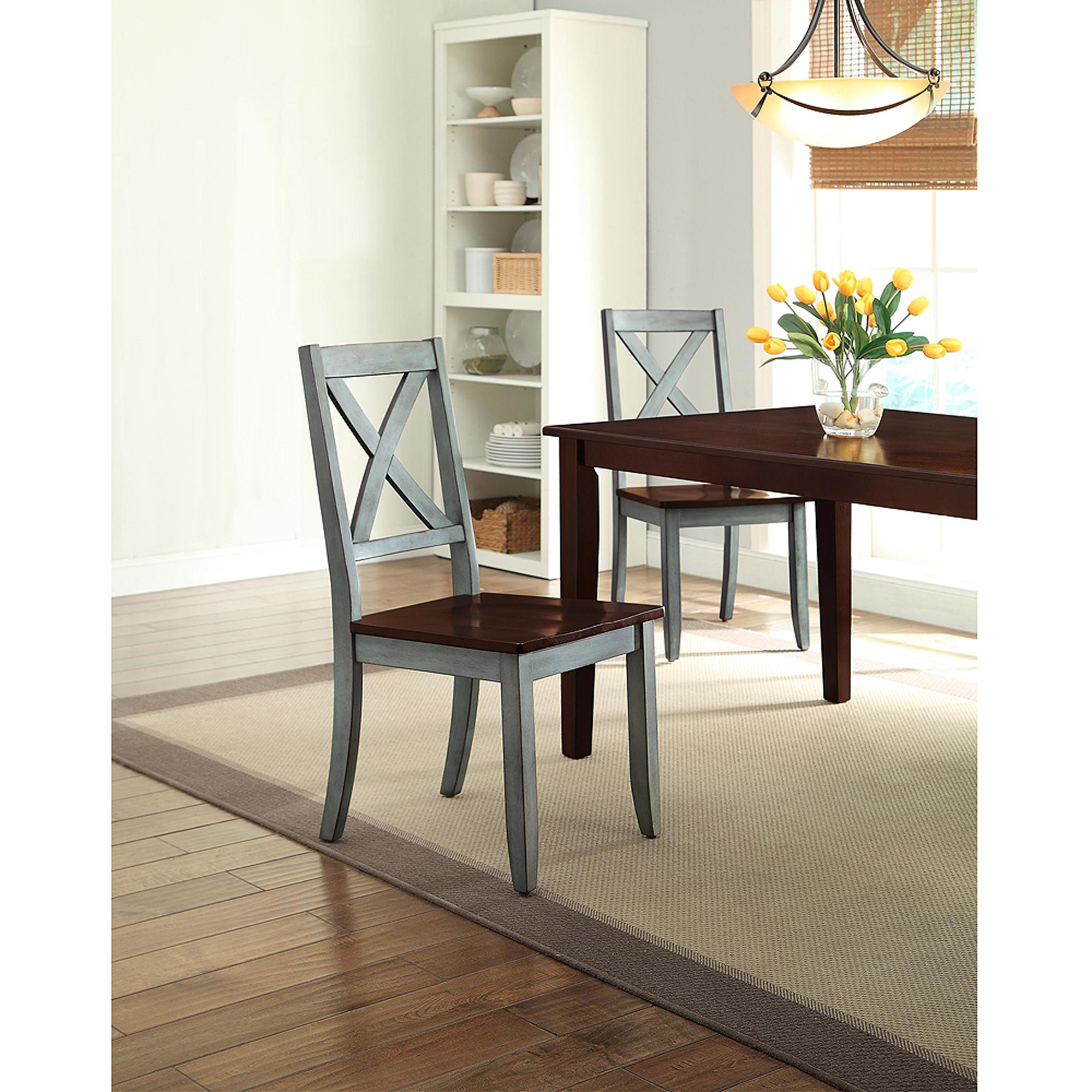 Better Homes and Gardens Maddox Crossing Dining Chair, Blue, Set of ...
