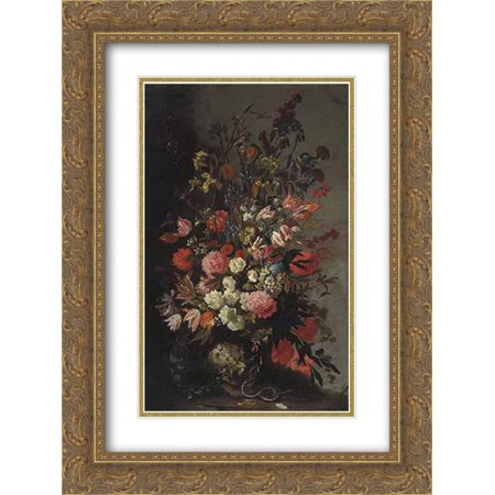 Mario Nuzzi 2X Matted 18X24 Gold Ornate Framed Art Print Tulips  Lilies  Irises And Other Flowers  In A Sculpted Urn  With A Snake And A Moth  On An Earthen Bank