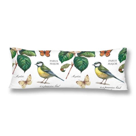 ABPHOTO Watercolor Gardening Flower Leaves Bird Butterfly Body Pillow Covers Case Protector 20x60 inch