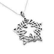 "Sterling Silver Celtic Knot Star Knotwork Pendant 18"" Necklace"