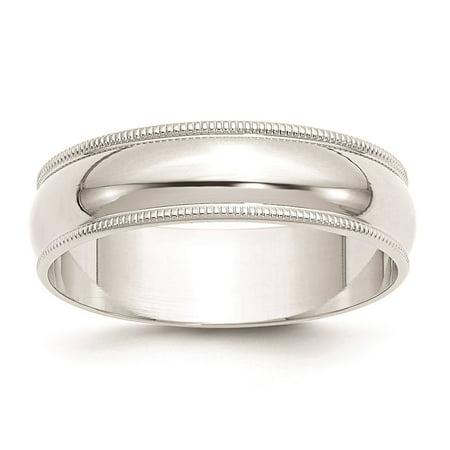 10k White Gold 6mm Lightweight Milgrain Half Round Wedding Band Ring Size 11.5
