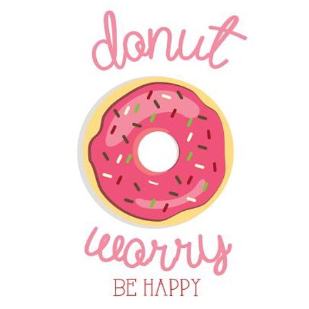 Donut Worry Be Happy : Funny Quote Journal, Mix 90p Lined Ruled 20p Dotted Grid,8.5x11 In,110 Undated Pages, Cute Pink Journal: Quote Journal to Write in Your Wisdom Thoughts, Plan, and Ideas for Life/ Business /Office /Student/