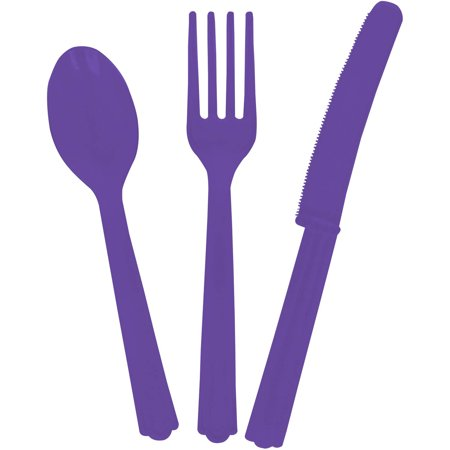 Assorted Plastic Silverware for 6, Neon Purple, - Plastic Silverwear