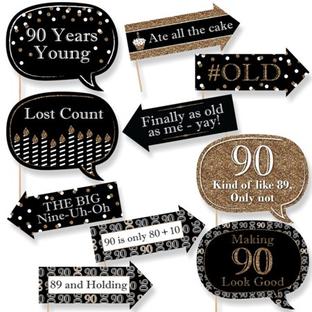 Funny Adult 90th Birthday - Gold - Birthday Party Photo Booth Props Kit - 10 Count - 90th Birthday Party