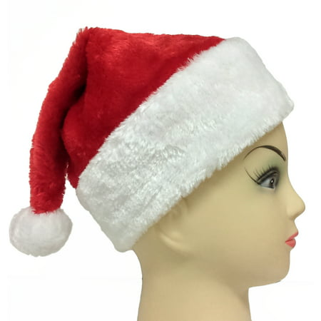 Kids Red Plush Santa Hat w Furry White Trim - Child Size (20.5