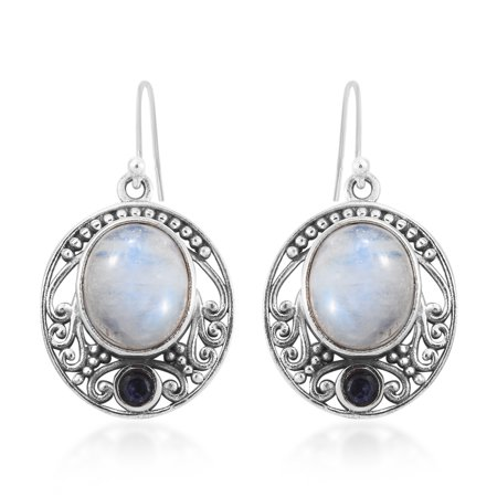 Dangle Drop Earrings 925 Sterling Silver Rainbow Moonstone Iolite Boho Handmade Jewelry for