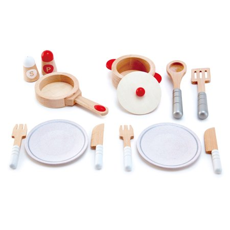 Hape Cook & Serve Kids Wooden Pretend Kitchen Play Food Plates & Utensils Set Serve Kitchen Set