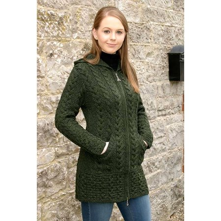 Irish Merino Wool Ladies Hooded Aran Zip Sweater Coat - Merino Wool Sweater