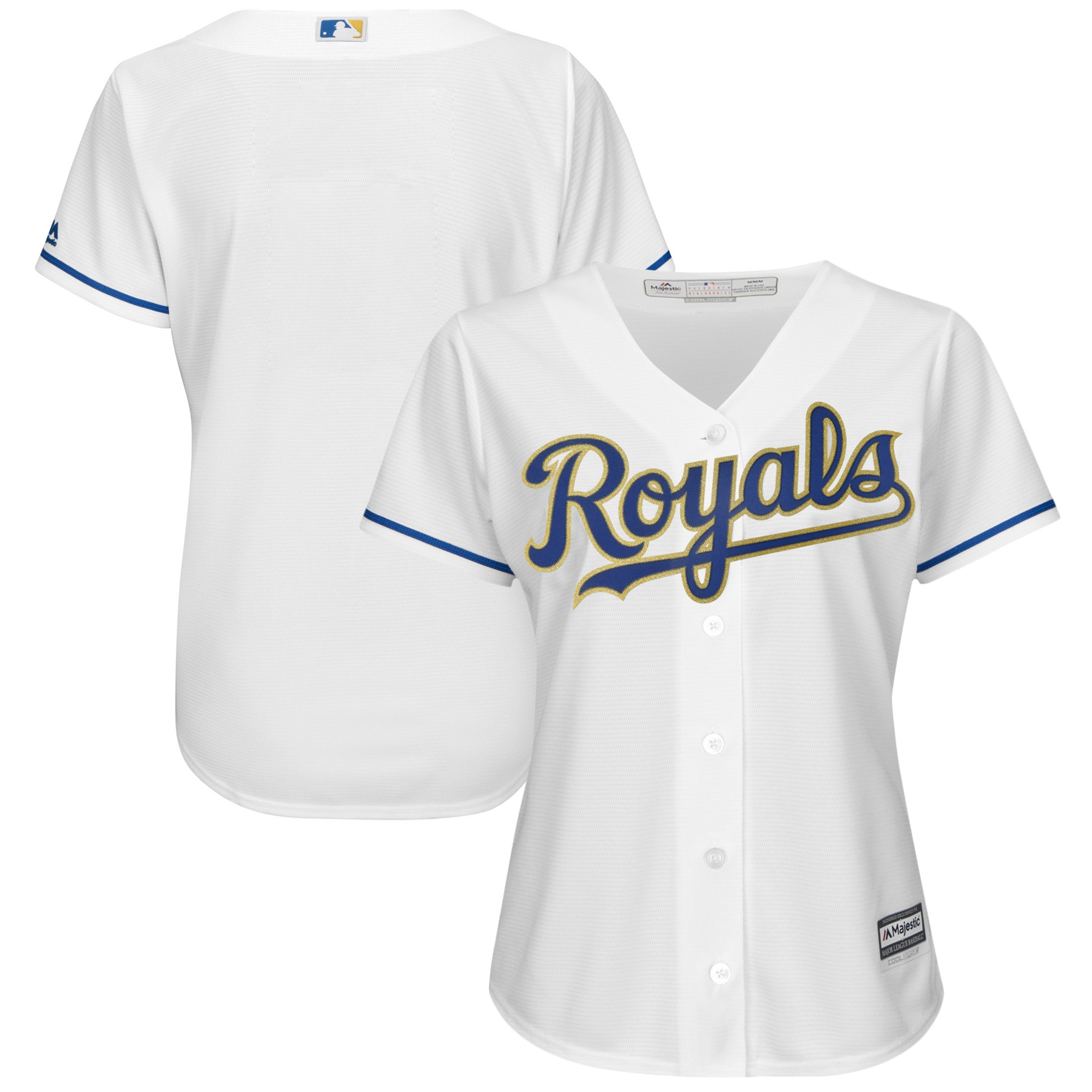 Kansas City Royals Majestic Women's 2017 Home Cool Base Replica Team Jersey White by MAJESTIC LSG