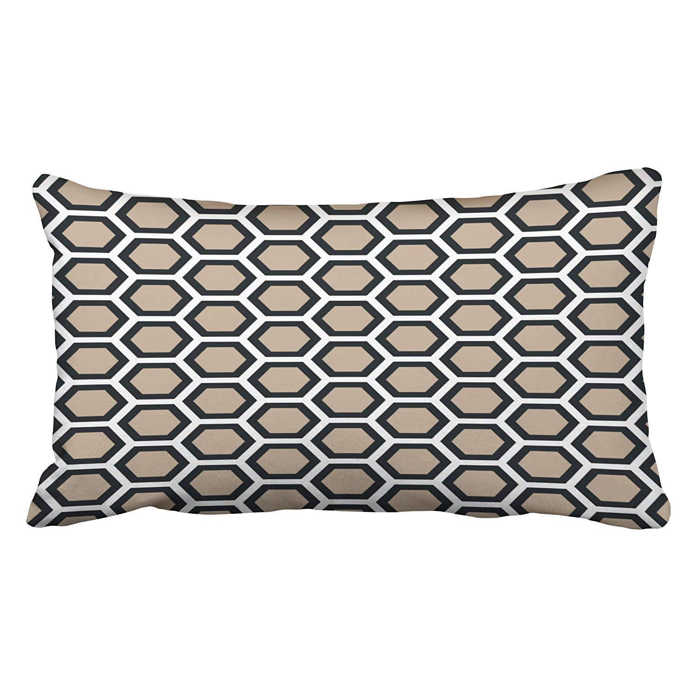 WOPOP Honeycomb Pattern Tan Black White Pillowcase Cushion Cover 20x30 inch