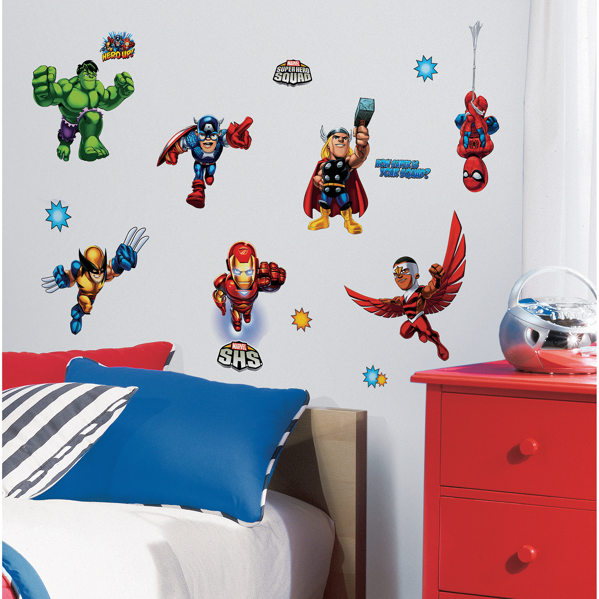 RoomMates Marvel Super Hero Squad Peel U0026 Stick Wall Decals