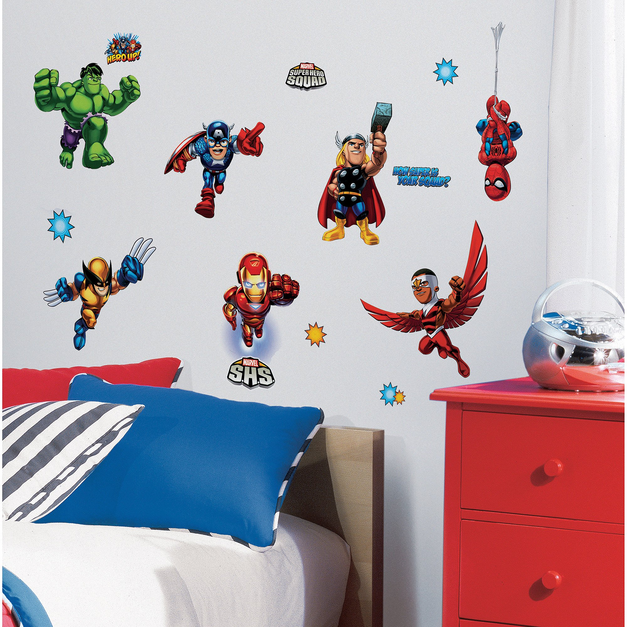 RoomMates Marvel Super Hero Squad Peel u0026 Stick Wall Decals  sc 1 st  Walmart & RoomMates Marvel Super Hero Squad Peel u0026 Stick Wall Decals - Walmart.com