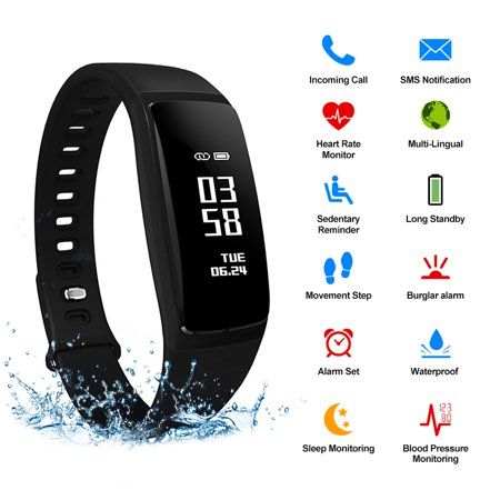 AGPtek Waterproof Fitness Tracker Smart Wristband Bluetooth OLED Display for IOS Android