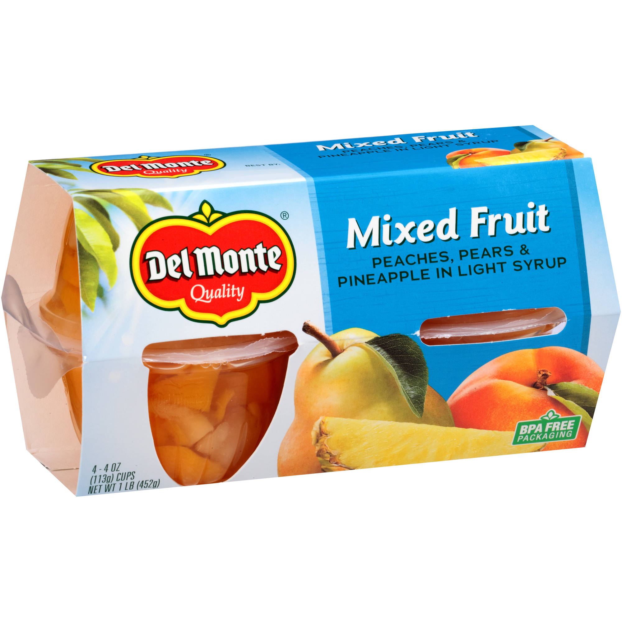 Del Monte Mixed Fruit Peaches, Pears & Pineapple in Light Syrup, 4 oz, 4 count